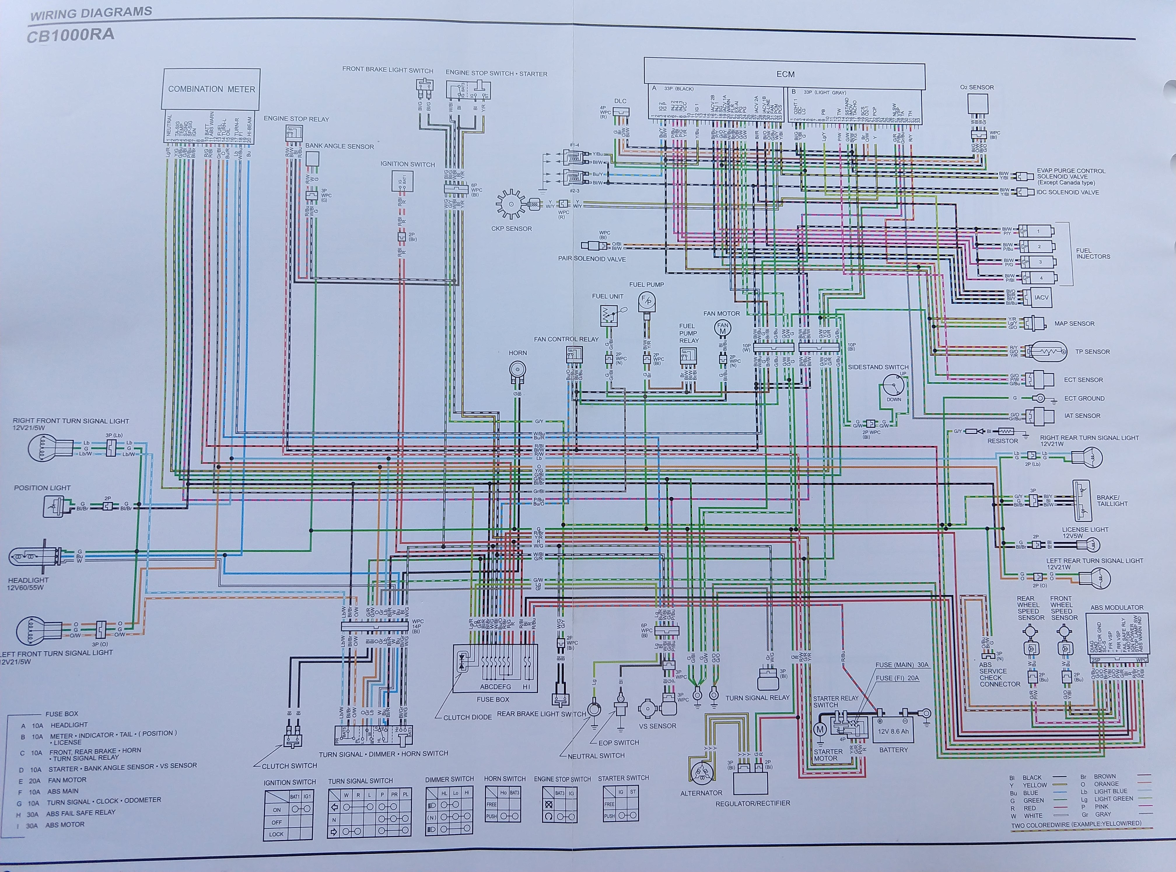 CB1000R North American specific Wiring Diagram on